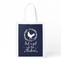 Just A Girl Who Loves Chickens Silhouette Grocery Bag