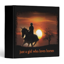just a girl who loves horses 3 ring binder
