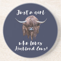 Just A Girl Who Loves Scottish Highland Cows Coaster