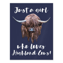 Just A Girl Who Loves Scottish Highland Cows Magnetic Invitation