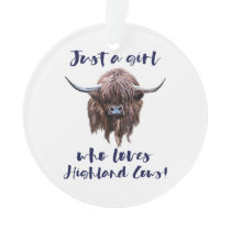 Just A Girl Who Loves Scottish Highland Cows Ornament