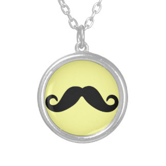 Just a Mustache Round Pendant Necklace