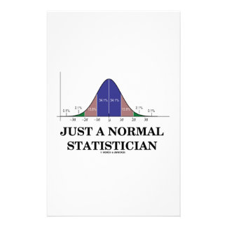 Just A Normal Statistician Bell Curve Humor Stationery Paper