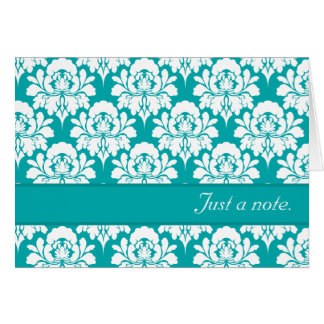 Just A Note Turquoise Damask Print Card