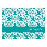 Just A Note Turquoise Damask Print Greeting Card