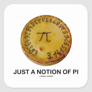 Just A Notion Of Pi Pi On A Pie Square Sticker