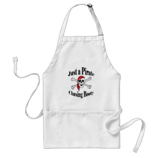 Just a Pirate Chasing Booty - Colorful Skull Adult Apron