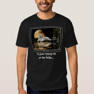 """""""Just a Pussy-Cat"""" Fun White Tiger and Moon T-shirt"""