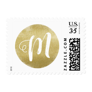 just a simple faux gold circle monogram postage