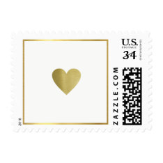 Just A Simple Faux Gold Love Heart, Wedding Postage at Zazzle