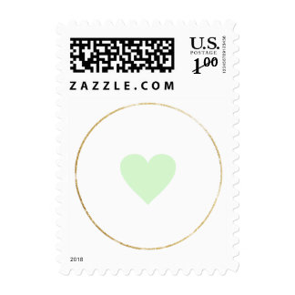 just a simple small green heart of love minimalist postage
