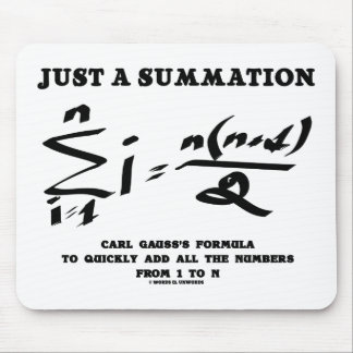 Just A Summation Math Equation Carl Gauss Formula Mouse Pad