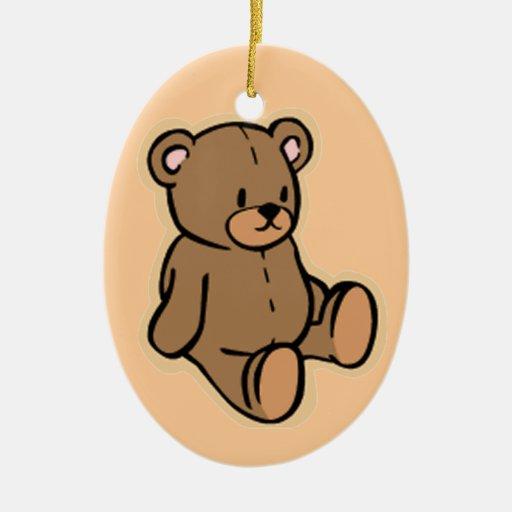 Just a Teddy Bear Double-Sided Oval Ceramic Christmas Ornament