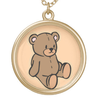 Just a Teddy Bear Round Pendant Necklace