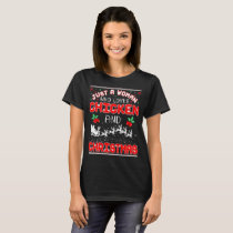 Just A Woman Loves Chicken And Christmas Ugly T-Shirt