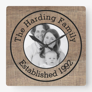 Just Add Photo and Custom Text Burlap Family Pic Square Wallclocks