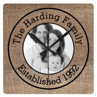 Just Add Photo and Custom Text Burlap Family Pic Square Wallclocks