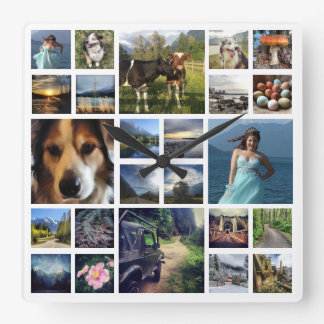 Just Add Photos Custom 24 Picture Collage Square Wallclock