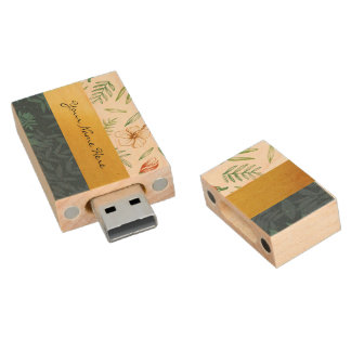 Just Add Your Name | Hibiscus Flower & Palm Leaves Wood Flash Drive