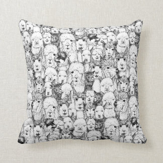 just alpacas black white throw pillow