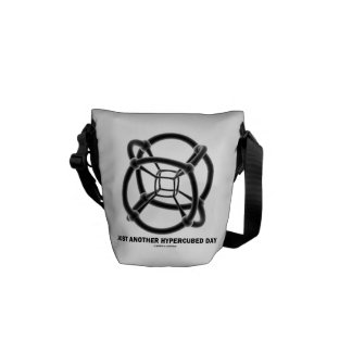 Just Another Hypercubed Day (4-D Polytope) Messenger Bags