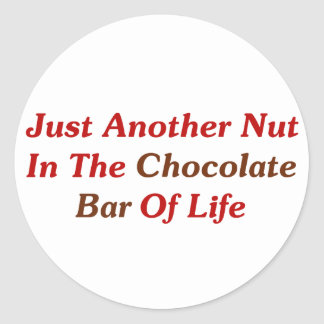 Just Another Nut In The Chocolate Bar Of Life Classic Round Sticker