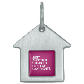 JUST ANOTHER STRAIGHT GIRL FOR GAY RIGHTS -.png Pet ID Tag