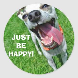 JUST BE HAPPY Round Stickers