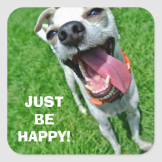 JUST BE HAPPY Square Stickers