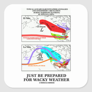 Just Be Prepared For Wacky Weather Square Sticker