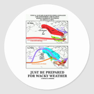 Just Be Prepared For Wacky Weather Classic Round Sticker