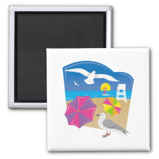 Just Beachy 2 Inch Square Magnet