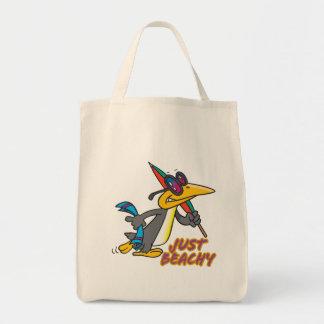 just beachy beach penguin silly cartoon bags