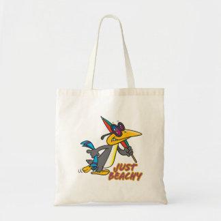 just beachy beach penguin silly cartoon canvas bags
