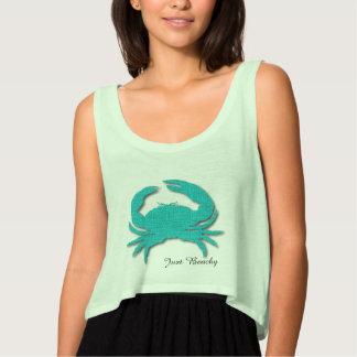 Just Beachy Crab Flowy Crop Tank Top