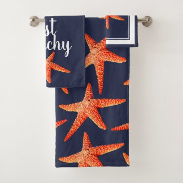 Beach Themed Just Beachy Nautical Red Orange Starfish & Navy Bath Towel Set
