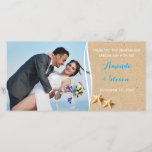 """Just Beachy Photo Thank You Card<br><div class=""""desc"""">Even though you may have eloped to the tropics you can still give your family and friends a peek into the joy you shared on that special day with this sandy beach and star fish photo template thank you card. The text is in tropical Bahama blue and white but it...</div>"""