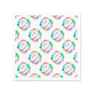 Beach Themed Just Beachy Tropical Flower Luau Party Supplies Paper Napkin
