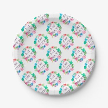 Beach Themed Just Beachy Tropical Flower Luau Party Supplies Paper Plate