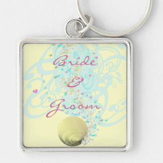 Just Beachy Wedding Keychain With Shell and Swirls