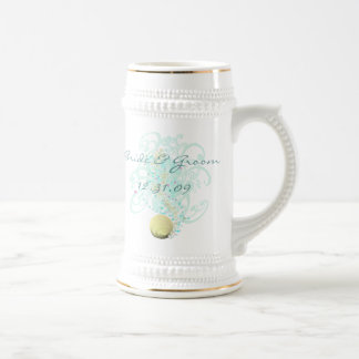 Just Beachy Wedding Stein With Shell and Swirls