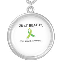 JUST BEAT IT Lyme Disease Awareness Silver Plated Necklace