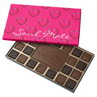 Just Because SoulMate Personalized Chocolates Pink 45 Piece Assorted Chocolate Box