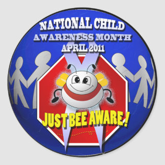 JUST BEE AWARE National Child Awareness Month Classic Round Sticker
