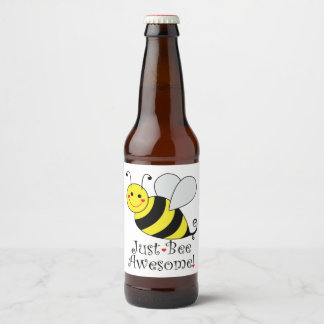 Just Bee Awesome Bumble Bee Beer Bottle Label