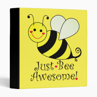Just Bee Awesome Cute Yellow Bumble Bee 3 Ring Binder