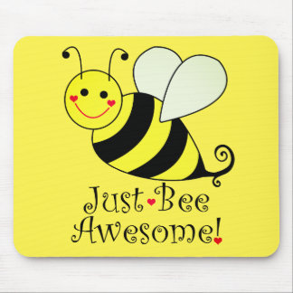 Just Bee Awesome Cute Yellow Bumble Bee Mouse Pad