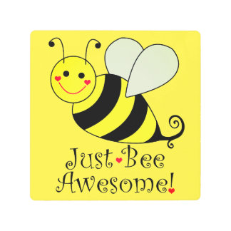 Just Bee Awesome Yellow Bumble Bee Metal Print