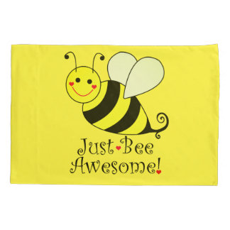 Just Bee Awesome Yellow Bumble Bee Pillowcase