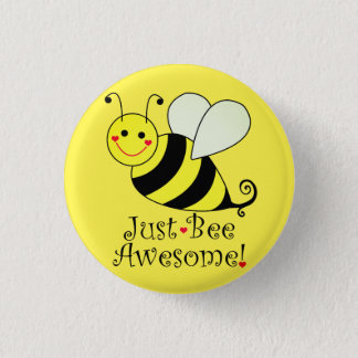 Just Bee Awesome Yellow Bumble Bee Pinback Button